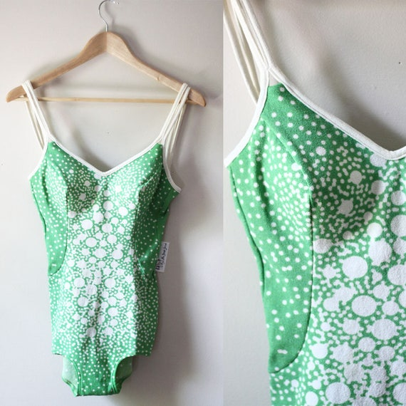 1960s Green Floral Bathing Suit // Vintage Swimsuit // Pin Up style bathing suit