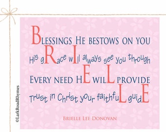 Religious Baby Gift Baptism Gift Girl Christening Gift Christian Gifts Personalized Baptism Gift For Goddaughter Poem 8x10 Brielle