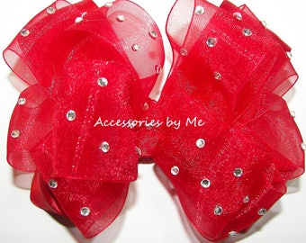 Red Hair Bow, High Glitz Red Clip, Red Organza Satin Hair Bow, Valentine's Flower Girl Bows, Glitz Pageant Bow Barrettes, Red Baby Bow Bands