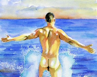 "PRINT Original Art Work Watercolor Painting Gay Male Nude ""First wave"""