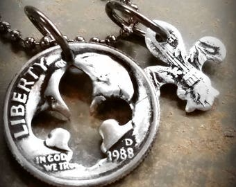 30th Birthday 1988 Dime Fleur de lis Necklace 30th Anniversary 30th Birthday Gift Coin Jewelry made from a 1988 Dime