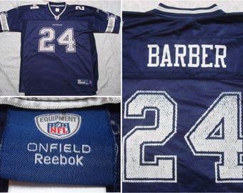 vintage retro mens reebok football jersey dallas cowboys marion barber blue white silver football nfl 24