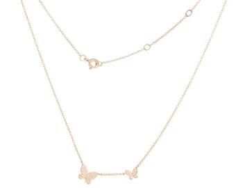14k Gold and Diamond Butterfly Necklace/Anniversary/Birthday/Graduation/Wedding