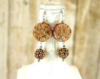 Recycled jewelry - Wine cork earrings - Gift for wine lover - Statement earrings - Reversible earrings - Wine cork jewelry