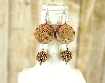 Recycled jewelry - Wine cork earrings - Gift for wine lover - Statement earrings - Reversible earrings - Wine cork jewelry - Unusual jewelry