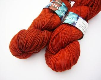 Hand dyed Double knit weight yarn 100% Superwash Merino  - Rust