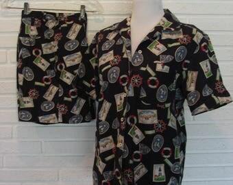 80's Vtg JONES NY SPORT 2 Piece Shorts Outfit Size 8 TravelTheme