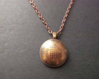 British One Penny  Domed  Coin Necklace - British One Penny Domed Coin Pendant