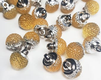 Round Crystal Look Gold Sewing Buttons, Sewing Buttons, Fashion Buttons