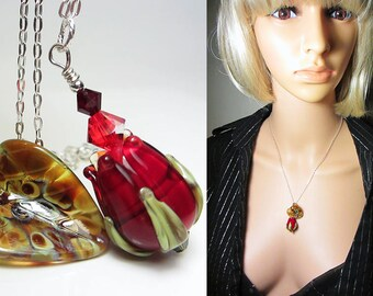 Artisan Lampwork Necklace Red Rose Bud Necklace Ruby Necklace Dark Red Necklace Green Floral Flower Bud Necklace Nature Leaf Necklace