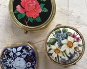 3 beautiful, vintage pill boxes, pill box with floral design