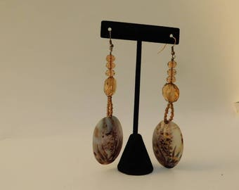 Amber Shell Drop Earrongs