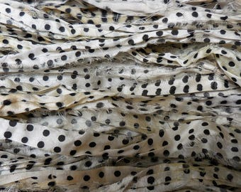 10 Yards, Sari Silk Ribbon Skein,  Polka Dots,  Fair Trade from India