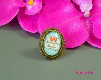 "Fancy ring - Cabochon 18 X 25 mm - picture message ""Once upon a time..."" - bronze support"