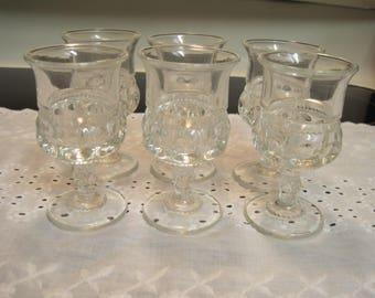Set Of Six Kings Thumbprint Two ounce Wine Glasses 1970,s