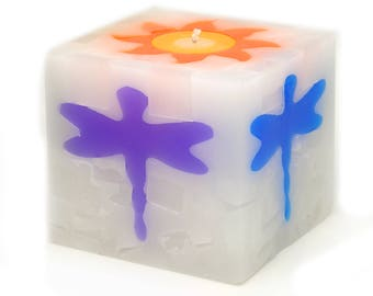 Cosmic Candles Dragonfly Square Pillar Unscented 4x4