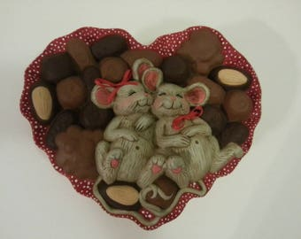 Ceramic Heart Shaped Dish with Chocolates and Mice Design on Top