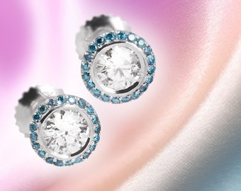 Pale Blue Diamond Pave Circle Solid,White Gold Brilliant Earrings, Elegant Earrings, Round Cuff Style Stud Earrings, Halo Earrings, Fine