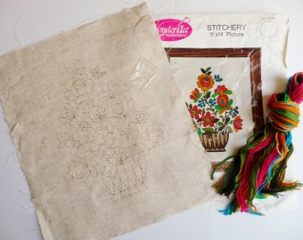 "WonderArt RHAPSODY Crewel Embroidery Kit Stylized Flowers Hot Pink Orange Turquoise Blue Green 11"" x 14"""