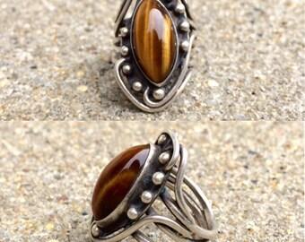vintage sterling silver tiger's eye ring size 5.25