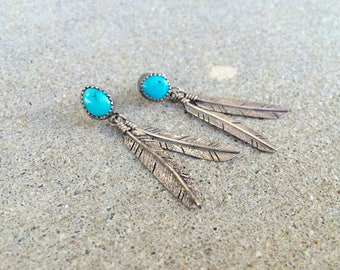 vintage Native American sterling silver turquoise feather post southwestern earrings
