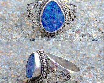 vintage sterling silver lab opal filigree ring size 9
