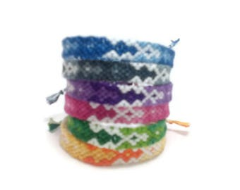 Fading diamond string friendship bracelets, custom friendship, zigzag friendship, friendship gift, bohemian friendship, tribal friendship
