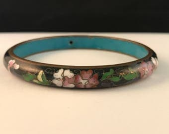 Beautiful Vintage Black Floral Cloisonné Bangle   Bracelet