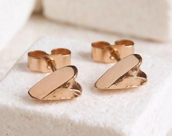 Rose Gold Heart Earrings - Heart Ear Studs - Rose Gold Vermeil Earrings - Gold Plated Stud Earrings - Heart Shaped Jewellery