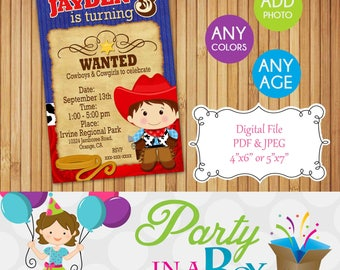 Cowboy birthday Invitation DIY Printable Digital File