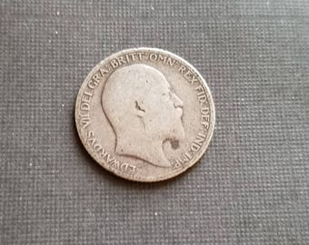 Antique 1907 Silver Sixpence Coin - Old British Sterling Silver