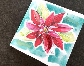 Poinsettia Christmas Art Card