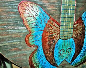 Guitar painting carved wood burning, butterfly bass guitar, metallic acrylics, guitar wall art, music art, guitarist gifts, heartbeat guitar