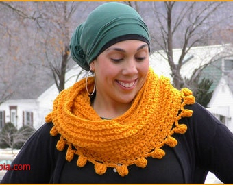 DIGITAL DOWNLOAD: PDF Crochet Pattern for the Pommin' Around Cowl