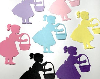 Little Girl with a Easter Basket Die Cut Scene Set of 8