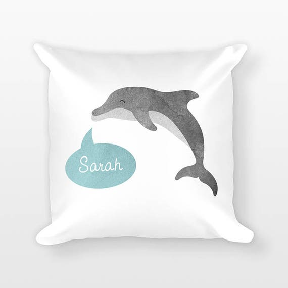 Custom Name Pillow, Dolphin Pillow, Personalized Pillow, Birthday Gift for Daughter, Kids Room Decor, Animal Throw Pillow, Decorative Pillow