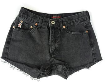 Vintage 90s GUESS High Waisted Black Denim Jean Cut off Shorts Waist 26 Small XS Womens Grunge Fringe Cuffed Midrise Festival