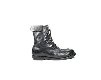 Mens 9.5D Black Leather Lace Up Combat Boots // Men's Black Leather Boots // G570