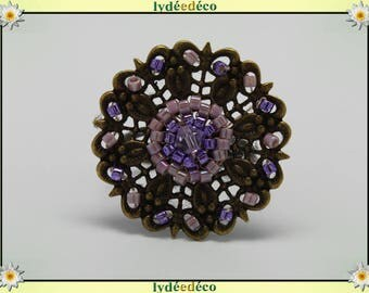 Charming retro vintage Adjustable ring bronze mauve purple glass beads