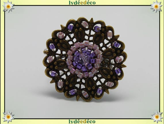 Charming retro vintage adjustable flower ring Japanese bronze 25mm purple glass beads