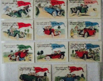 Postcards Automotive souvenir humor vacation postmarked 1913-15 Maine