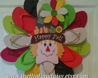 Adorable Scarecrow Welcome Fall Flip Flop Wreath Beach Door Decor Ocean Styles