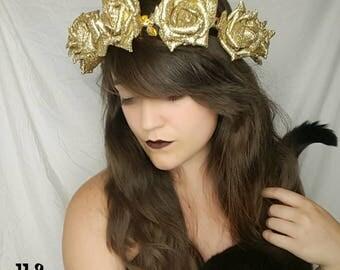 Golden glitter rose ilLOUminated headband, bohemian, gypsy, boho, light up