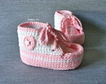 Baby pink crochet booties, baby crochet sneakers, baby summer booties, baby pink white shoes, baby foot wear, newborn baby girl booties