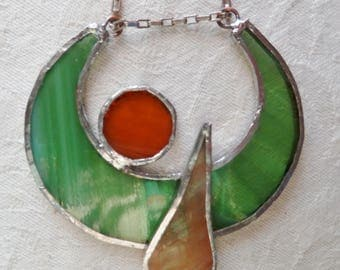 mid-length stained glass original Tin yellow necklace