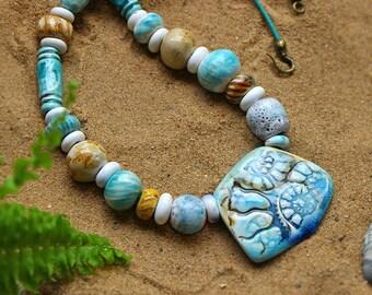 Beautiful blue ceramic beads.