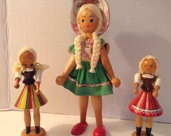 3 Vintage Wooden Peg Dolls Made in Poland 3 Girls --1 Tall, 2 Short