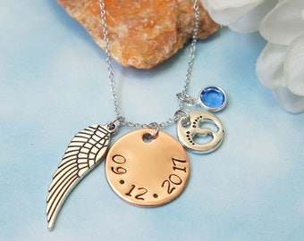 Sympathy Gift. Baby Loss. Date of Memorial. Remembrance Jewelry. Miscarriage Gift. Infant Loss. Angel Wing. Baby feet. Custom Hand Stamp.