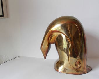 Large Art Deco Revival Emperor Penguin Statue Glam Vintage Loet Vanderveen Style Decor Signed and Numbered Limited Edition Sculpture
