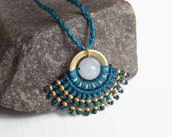 Teal and golden macrame necklace with white jade and brass, ethno necklace, semiprecious gemstone, Boho fashion jewelry, festival jewelry